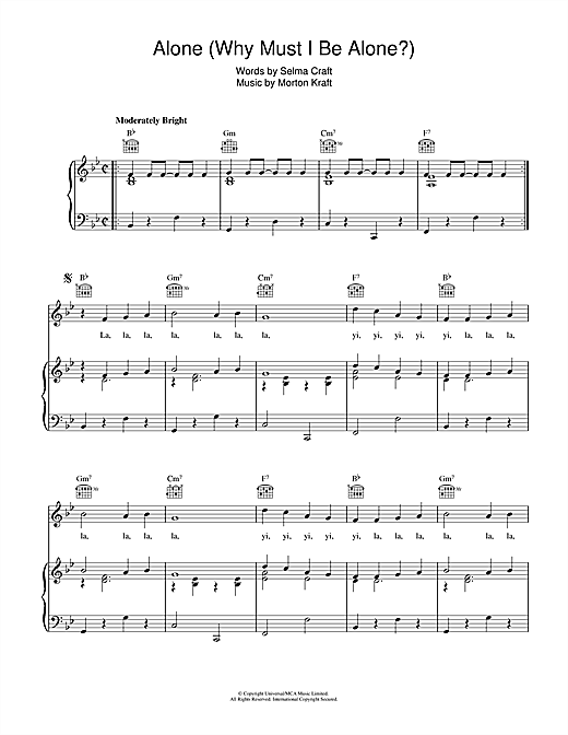 Alone (Why Must I Be Alone) Sheet Music