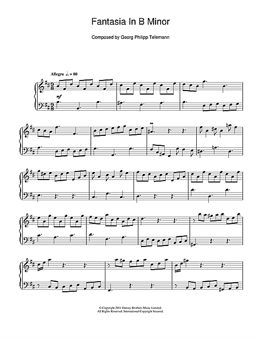 Fantasia In B Minor Sheet Music