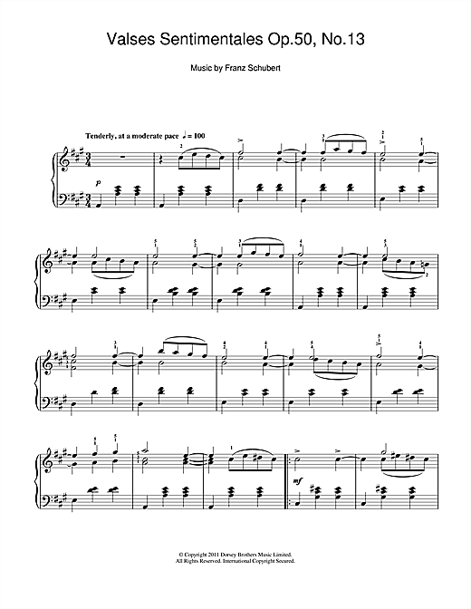 Partition piano Valses Sentimentales, Op.50 No.13 de Franz Schubert - Piano Solo