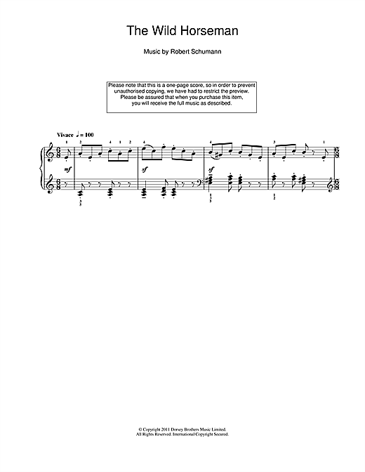 Partition piano The Wild Horseman de Robert Schumann - Piano Solo