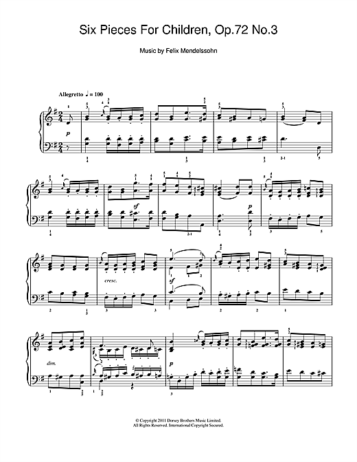 Partition piano Six Pieces For Children, Op.72 No.3 de Felix Mendelssohn - Piano Solo
