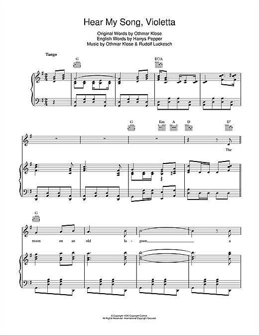 Hear My Song, Violetta Sheet Music
