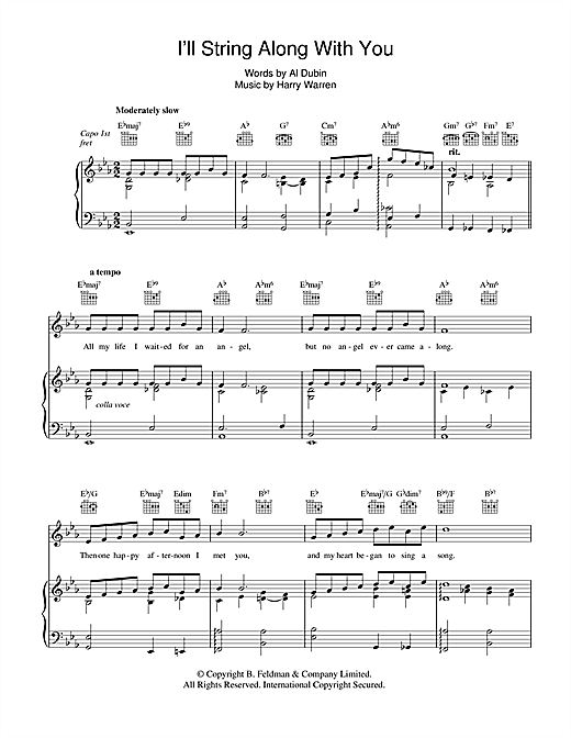 Partition piano I'll String Along With You de Harry Warren - Piano Voix Guitare (Mélodie Main Droite)