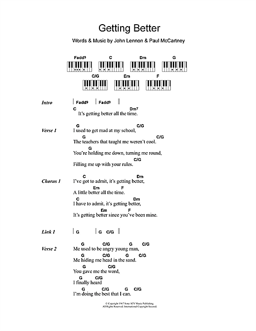 Getting Better Sheet Music By The Beatles Lyrics Piano Chords