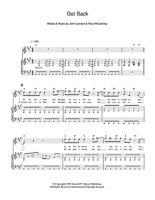 Partition piano Get Back de The Beatles - Piano Voix Guitare
