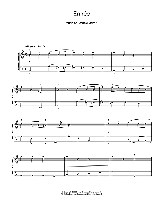 Entrée Sheet Music