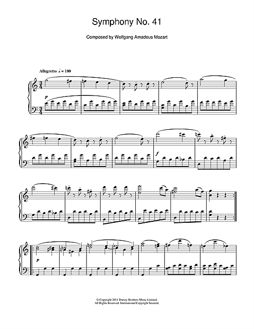 Symphony No.41 'Jupiter' (3rd Movement: Minuet) Sheet Music