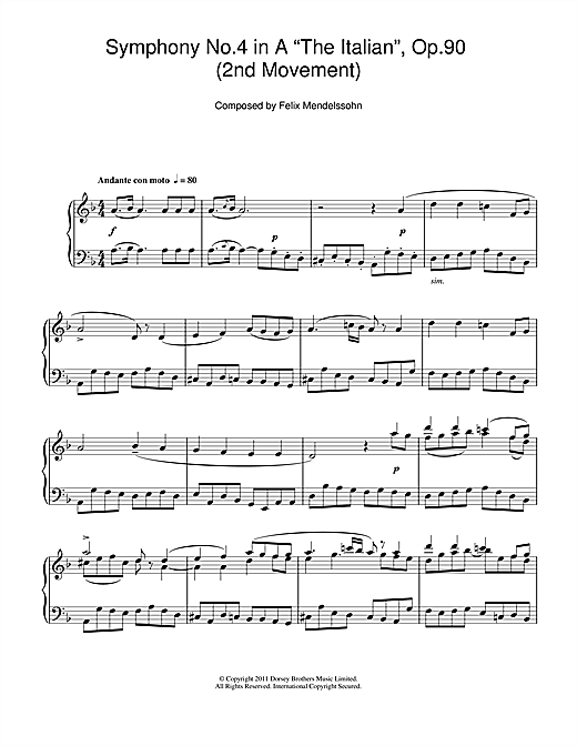 Symphony No.4 'The Italian' (2nd Movement: Andante Con Moto) Sheet Music