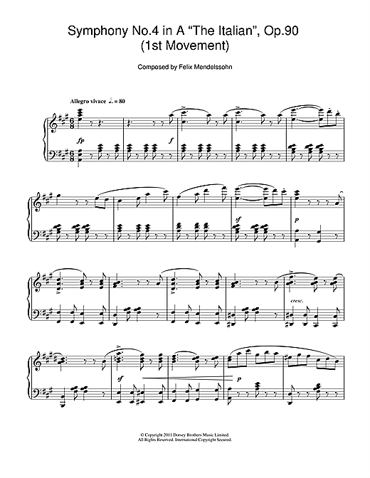 Partition piano Symphony No.4 'The Italian' (1st Movement de Felix Mendelssohn - Piano Solo