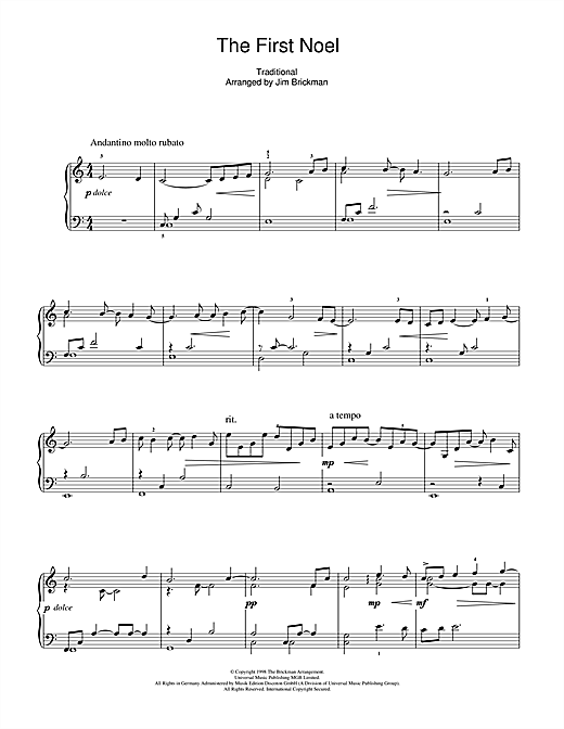 Partition piano The First Noel de Jim Brickman - Piano Solo