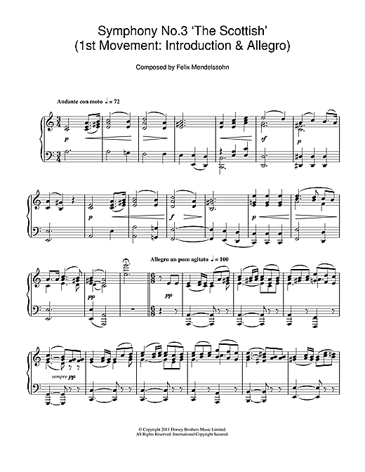 Partition piano Symphony No.3 'The Scottish' (1st Movement de Felix Mendelssohn - Piano Solo