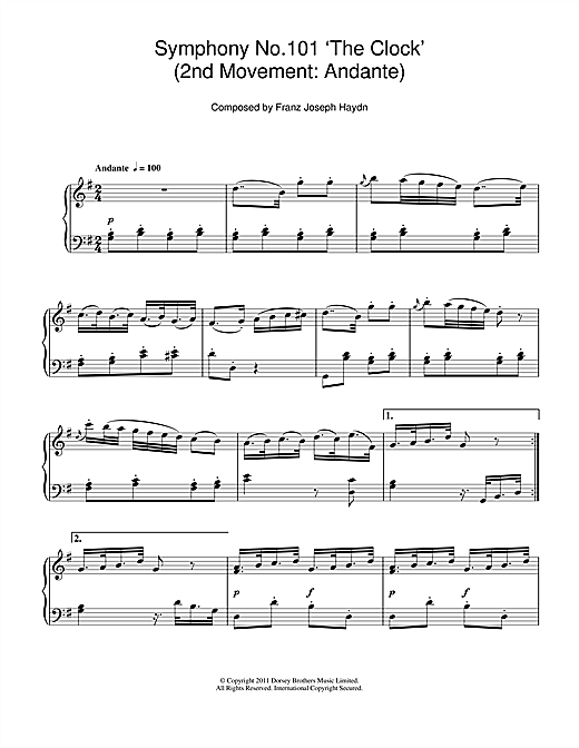 Symphony No.101 'The Clock' (2nd Movement: Andante) Sheet Music