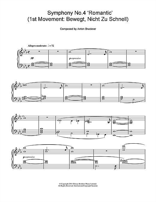 Partition piano Symphony No.4 'Romantic' (1st Movement de Anton Bruckner - Piano Solo