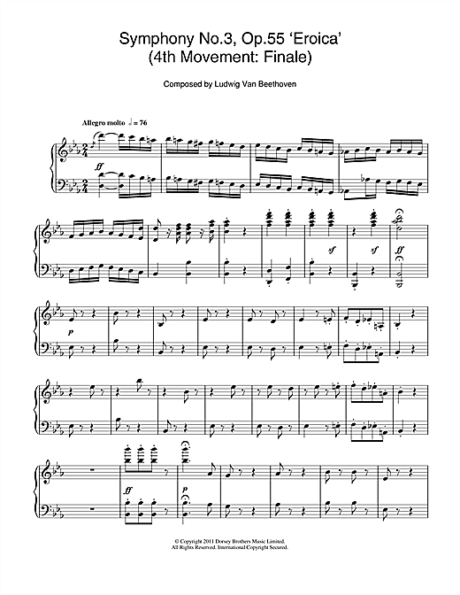 Symphony No.3 (Eroica), 4th Movement: Finale Sheet Music