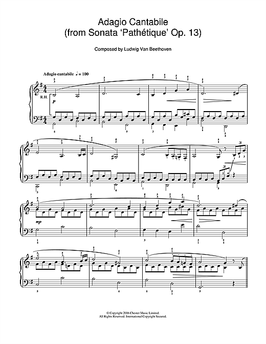 Adagio Cantabile from Sonate Pathetique Op.13, Theme from the Second Movement Sheet Music