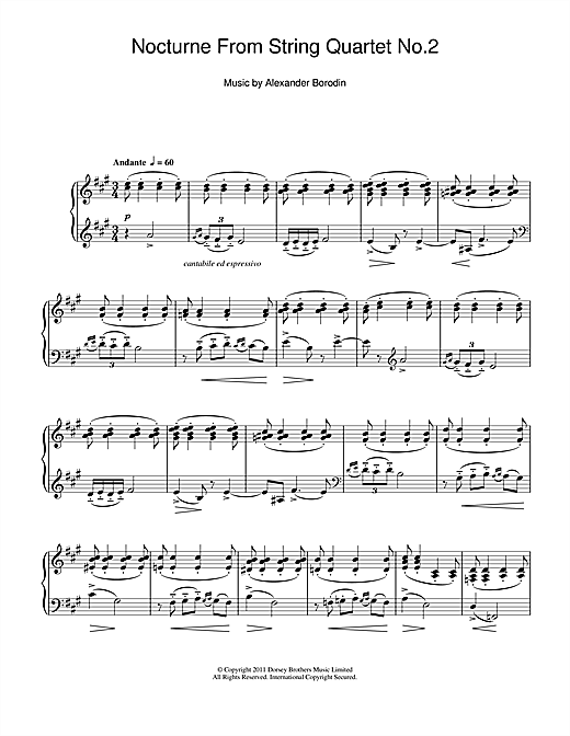 Nocturne From String Quartet No.2 Sheet Music