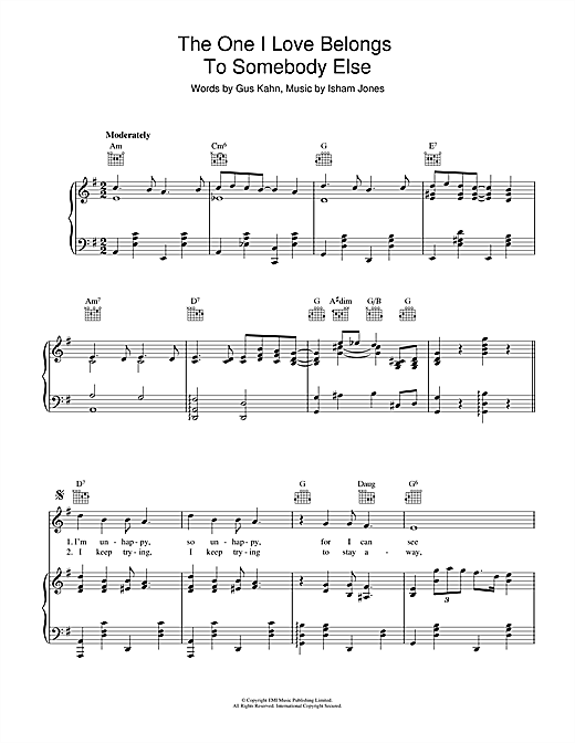 The One I Love Belongs To Somebody Else Sheet Music