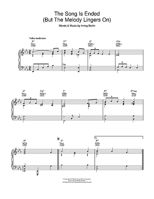 The Song Is Ended Sheet Music
