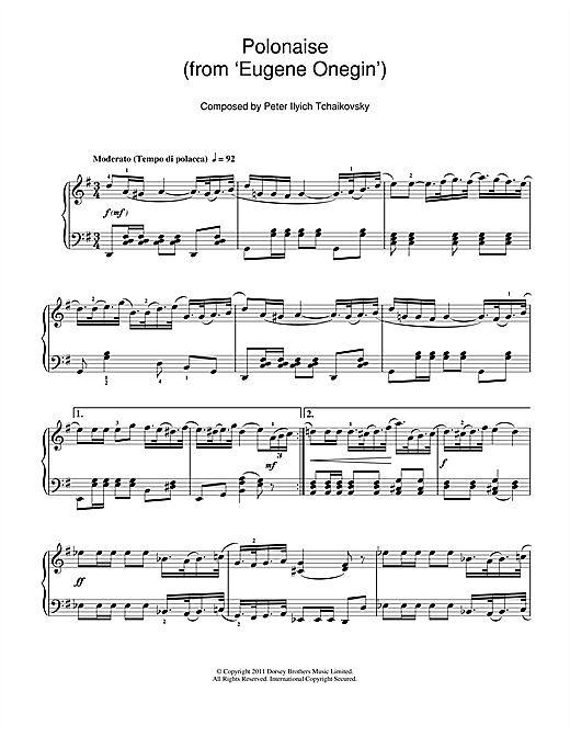Polonaise (from 'Eugene Onegin') Sheet Music