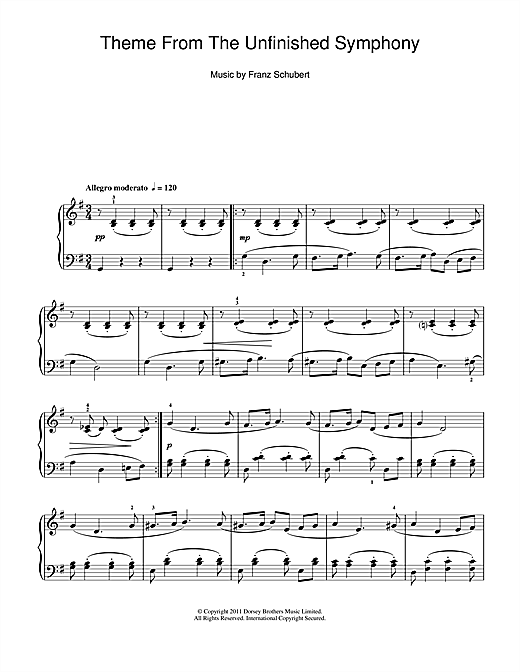 Partition piano Theme From The Unfinished Symphony de Franz Schubert - Piano Solo