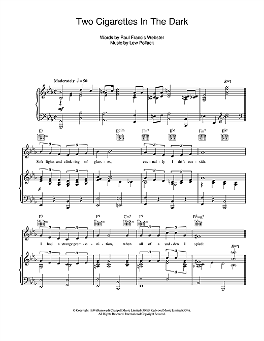 Two Cigarettes In The Dark Sheet Music