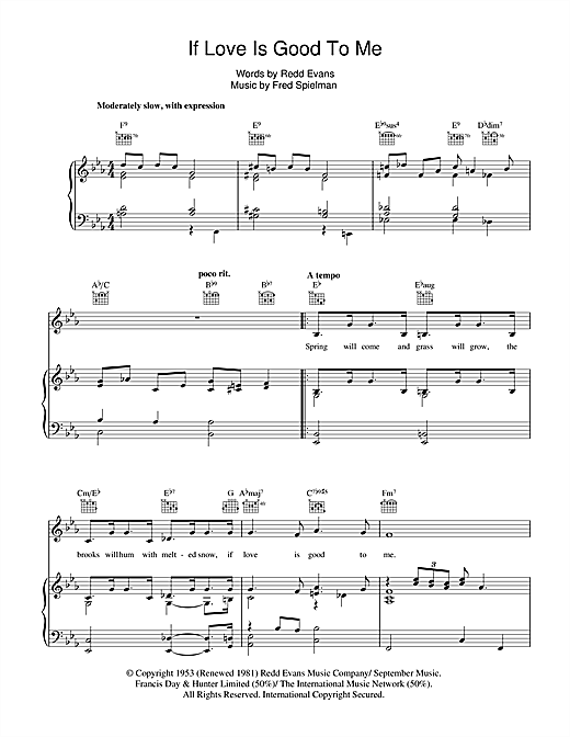 If Love Is Good To Me Sheet Music