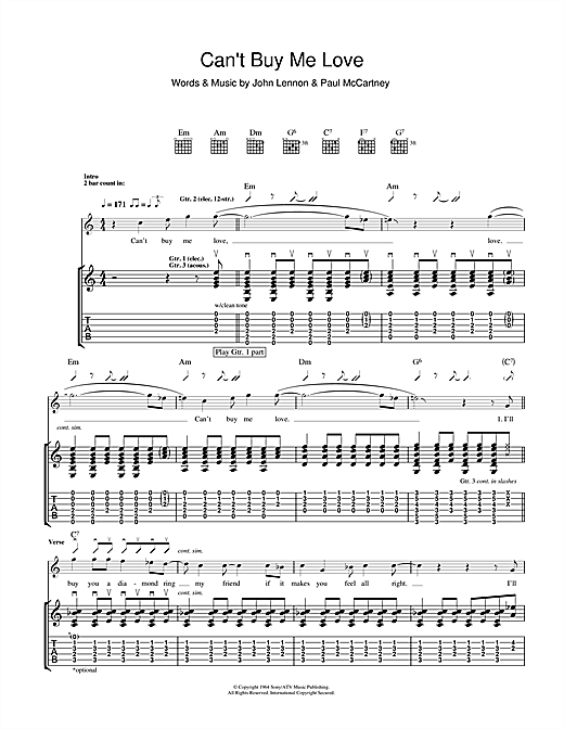 Tablature guitare Can't Buy Me Love de The Beatles - Tablature Guitare