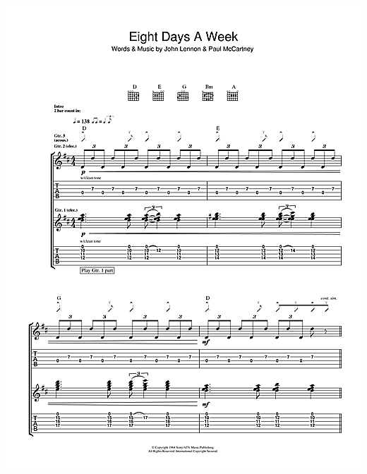 Tablature guitare Eight Days A Week de The Beatles - Tablature Guitare