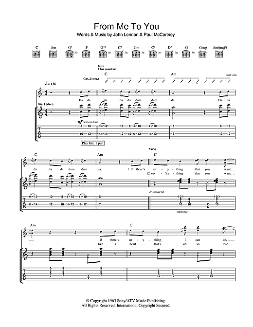 Tablature guitare From Me To You de The Beatles - Tablature Guitare
