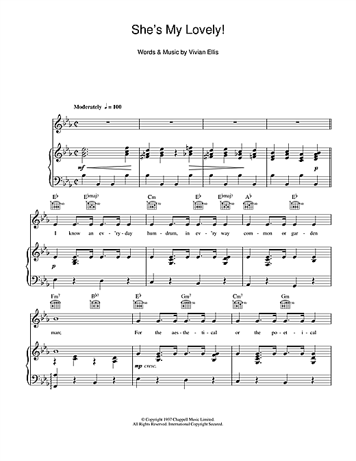 She's My Lovely (Piano, Vocal & Guitar (Right-Hand Melody))