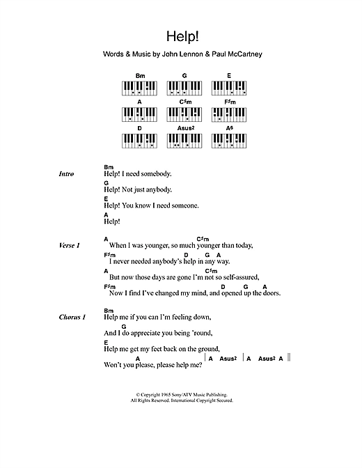 Help! sheet music by The Beatles (Lyrics & Piano Chords – 110708)