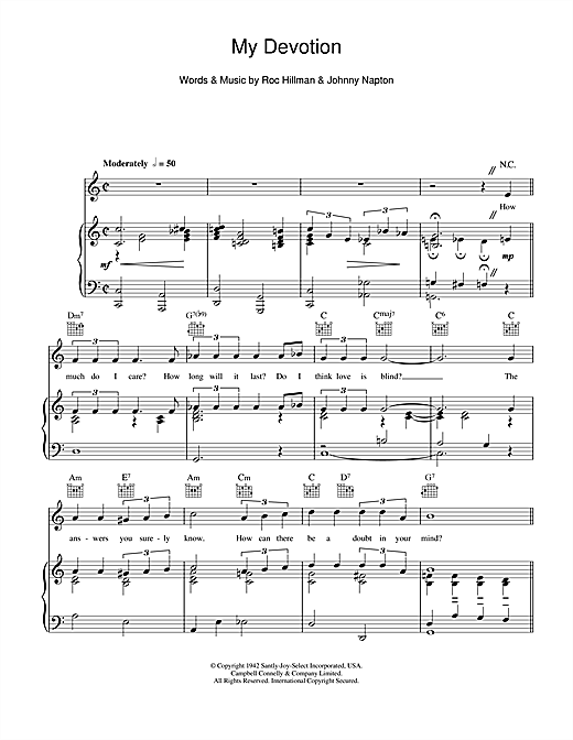 My Devotion (Piano, Vocal & Guitar (Right-Hand Melody))