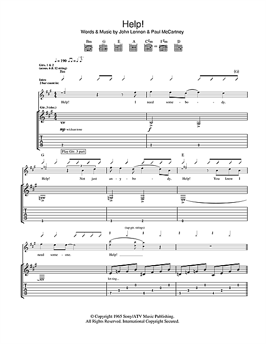 Tablature guitare Help! de The Beatles - Tablature Guitare