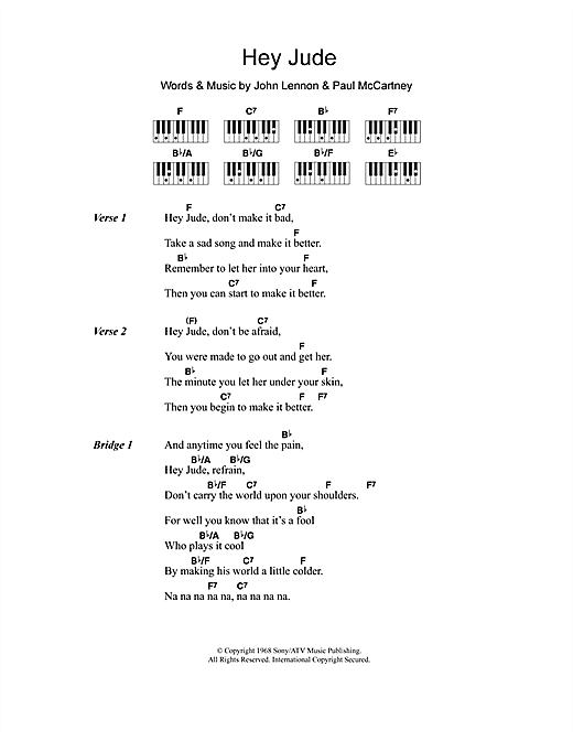 Hey Jude sheet music by The Beatles (Lyrics & Piano Chords – 110714)