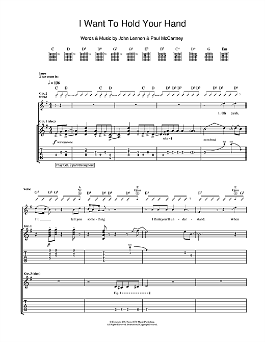 Tablature guitare I Want To Hold Your Hand de The Beatles - Tablature Guitare