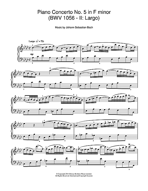 Piano Concerto No. 5 in F minor (BWV 1056 - II: Largo) Sheet Music