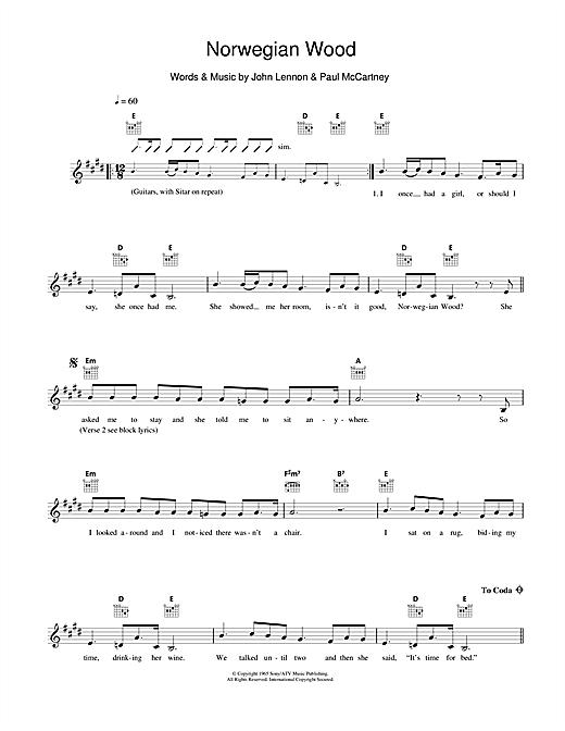 Norwegian Wood (This Bird Has Flown) chords by The Beatles (Melody Line, Lyrics u0026 Chords u2013 110744)