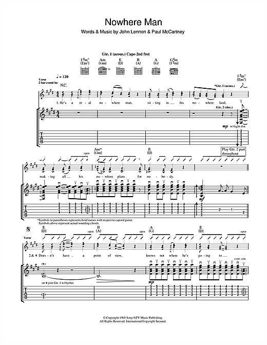 Tablature guitare Nowhere Man de The Beatles - Tablature Guitare