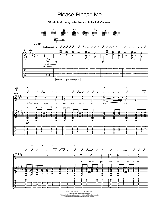 Please Please Me (Guitar Tab)