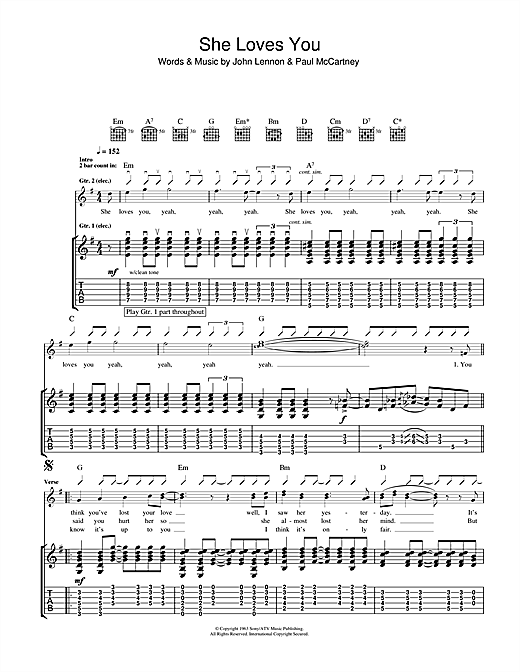She Loves You (Guitar Tab)