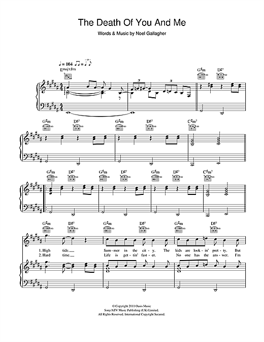 The Death Of You And Me Sheet Music