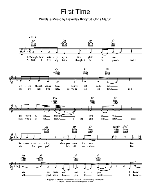 First Time (Lead Sheet / Fake Book)