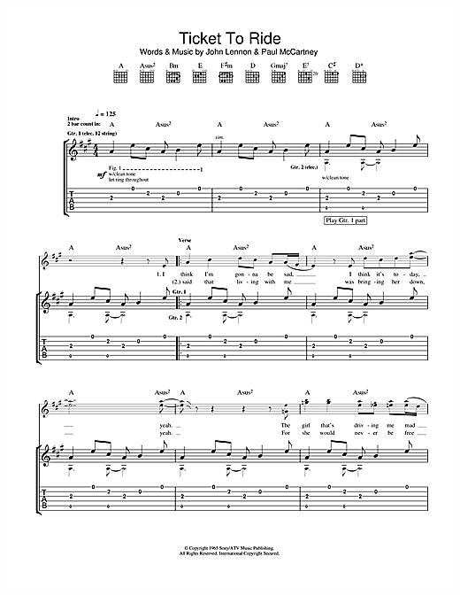 Ticket To Ride Sheet Music