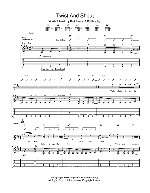 Twist And Shout (Guitar Tab)