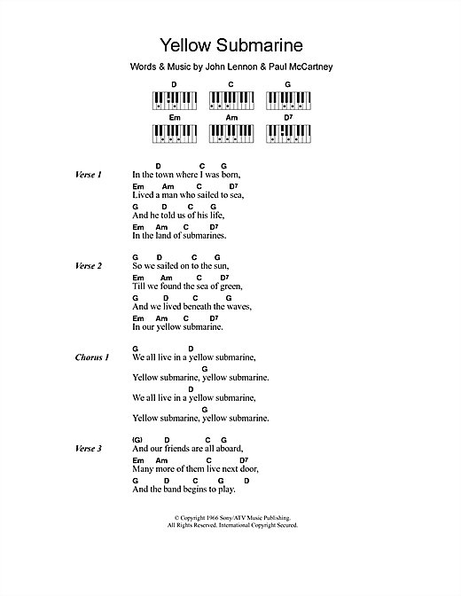 Guitar yellow guitar chords : Yellow Submarine sheet music by The Beatles (Lyrics & Piano Chords ...