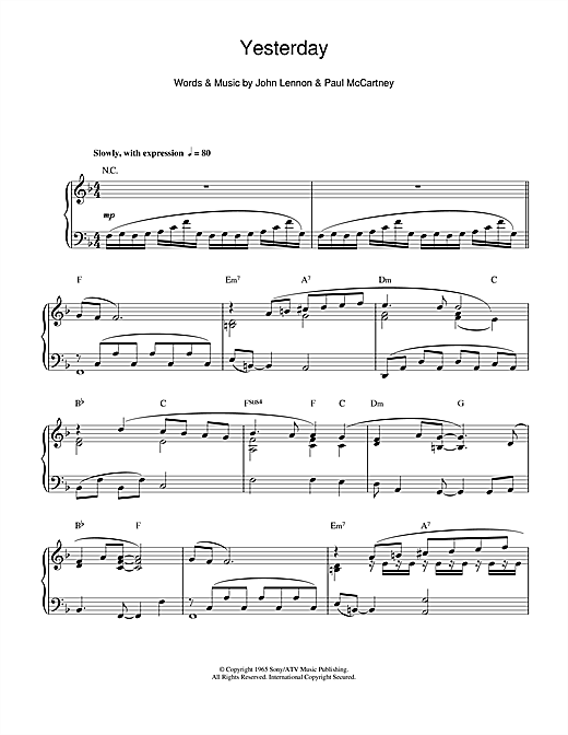 Yesterday Sheet Music
