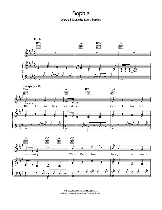 Sophia Sheet Music