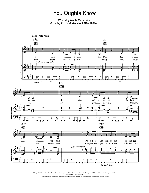You Oughta Know Sheet Music