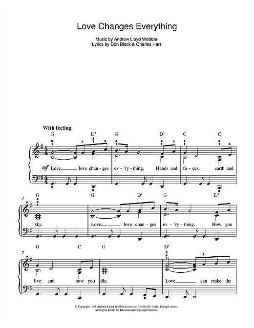 Partition piano Love Changes Everything (from Aspects Of Love) de Andrew Lloyd Webber - Autre