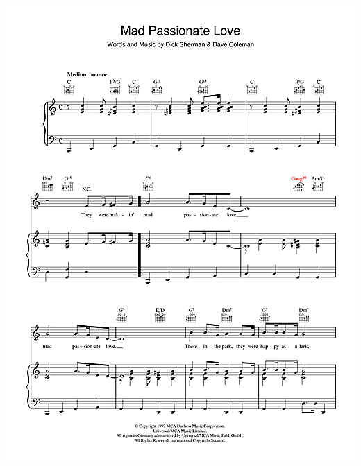 Mad Passionate Love Sheet Music